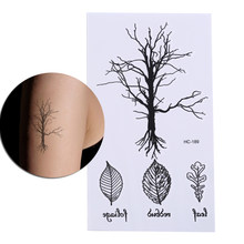 1 Pcs Waterproof Temporary Fake Leave Tattoo Stickers Vintage Black Tree Design Arm Leg Body Art Make Up Tool(China)