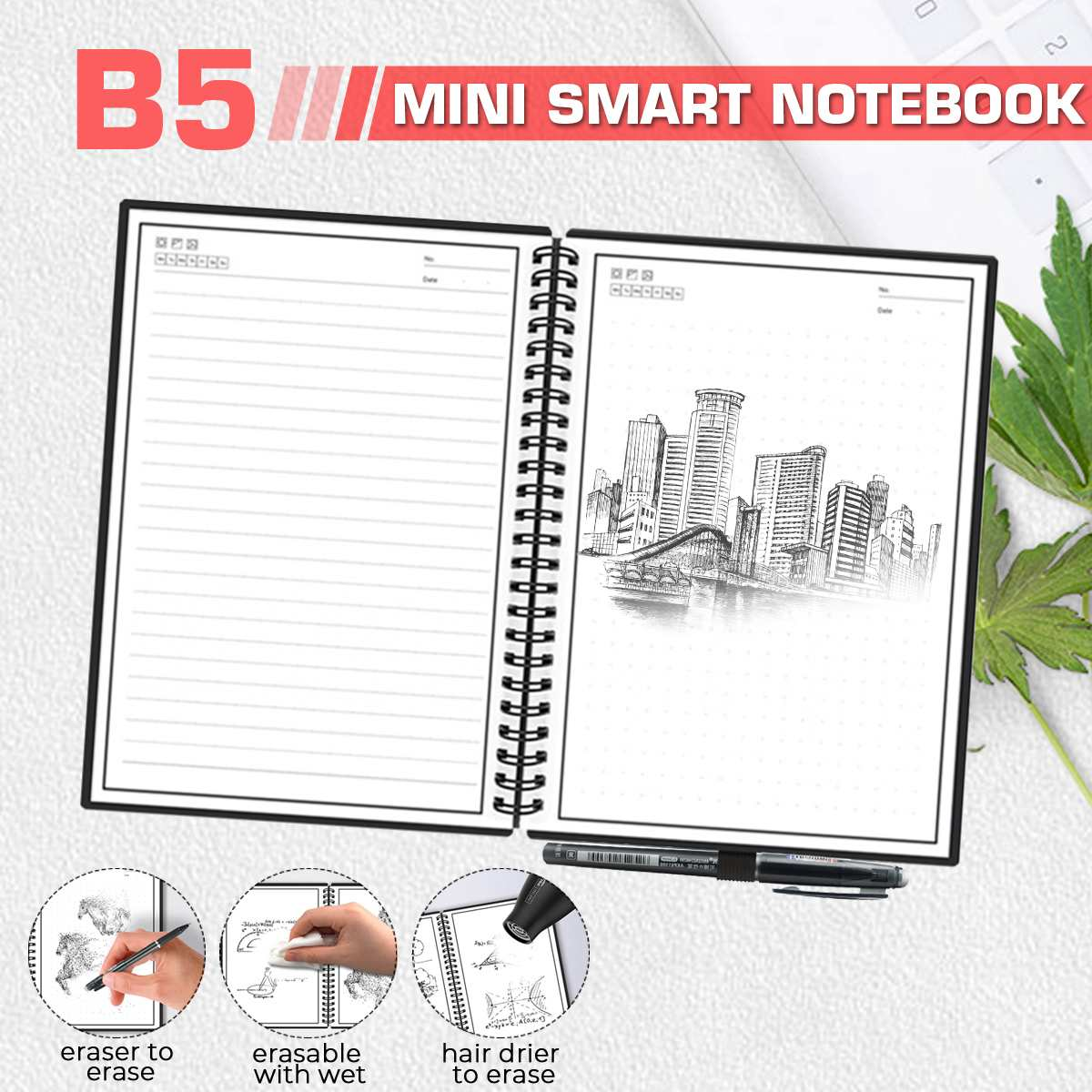 B5 Smart Reusable <font><b>Notebook</b></font> Erasable Wirebound <font><b>Notebook</b></font> Cloud Storage App Paperless Waterproof Hardcover Diary Book Gifts image