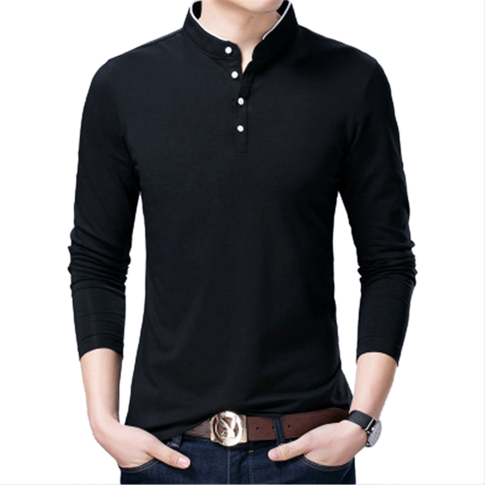 Autumn Male Tops Tees Casual Shirts White Cotton Pollovers Tops Luxury Brand Long Sleeve Slim Shirts Mens Clothing M-3XL