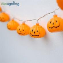 Светодиодный фонарь на Хэллоуин, праздничные огни, гирлянда, ручной DIY, тыква, световая гирлянда, батарея или USB, 5 В, Ins стиль, декоративная светящаяся гирлянда