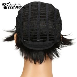Image 4 - Truemeナチュラルダークブラウン赤ワイン色人毛 100% かつら黒人女性のためのピクシーカットフルかつらレミーブラジルの髪