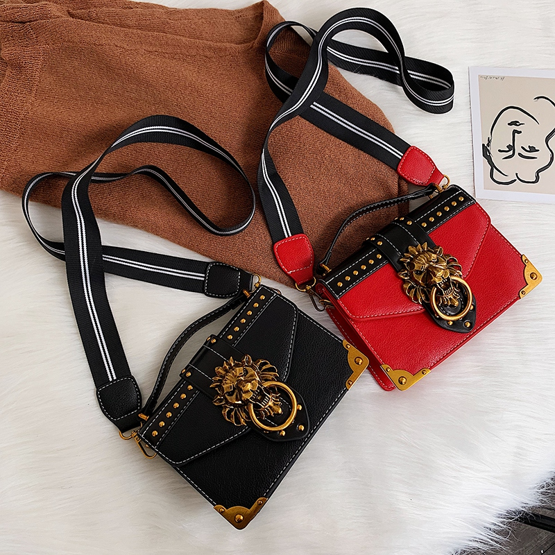 Hd1e5cc41f61245f39ae28c0748d1f284v - Female Fashion Handbags Popular Girls Crossbody Bags Totes Woman Metal Lion Head  Shoulder Purse Mini Square Messenger Bag