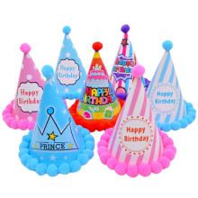 10pcs Happy Birthday Party Hats Rainbow Child Crown Decoration Colorful Plush Ball Cap Boys Girls Hat