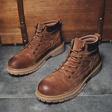 Winter Shoes Men Work Boots Vintage Lace Up Ankle High Quality Keep Warm Snow
