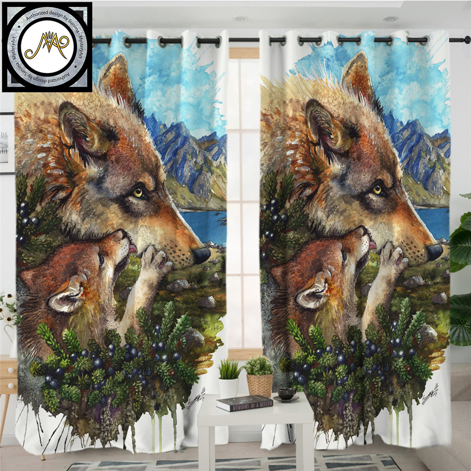 Wolf Cub Mother By Sunima Art Curtain For Living Room Wolves Family Blackout Curtain Watercolor Animal Window Treatment Drapes