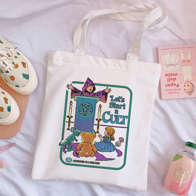 Let Us Start The Cult Cartoon Funny Letters Cute Shoulder Canvas Bags Harajuku Large Capacity Messenger Women Bag Casual Purse