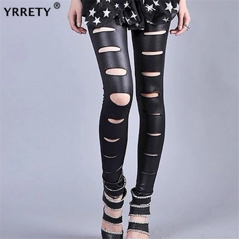 YRRETY Shiny Pants Leather Leggings Strech Black Holes Ripped PU Leggings Punk Rock Women Leggins Casual Jeggings Dancing Pant