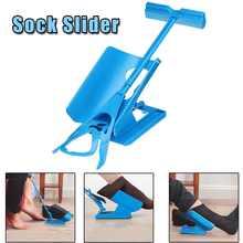 1 Pçs/set Meias Deslizante Azul Aid Helper Kit Ajuda A Colocar Meias Off Sem Dobrar Sapato Chifre Adequado Para Meias Pé Brace Suporte