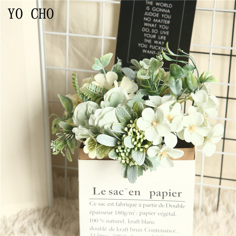 YO CHO 1 Bouquet Camellia Artificial Peony Rose Flowers Silk Fake Flores Wedding Flower DIY Home Garden Party Decoration Flowers