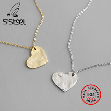 SSTEEL 925 Sterling Silver Pendants Necklaces Korea Heart Gold Necklace Colier Femme Valentines Day Gift Fine Jewelry For Women
