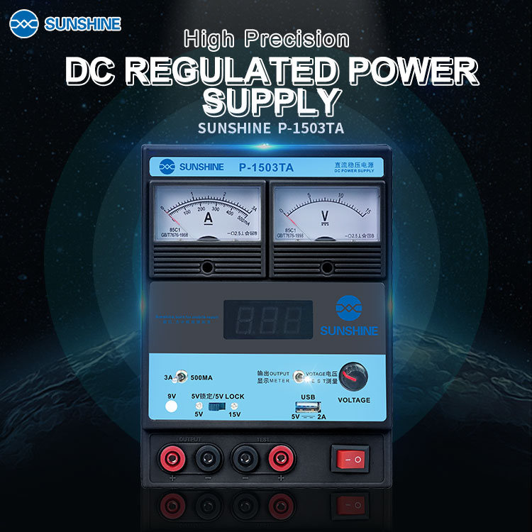 P-1503TA 15V 3A DC Power Supply With USB Port  Portable Voltage Regulator LED Digital Display Charging Phone Laptop RepairTool