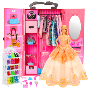 Fashion Dollhouse Furniture 73 Items/Set=1 Wardrobe + 72 Doll Accessories Dolls Clothes Dresses Crowns Necklace Shoes For Barbie