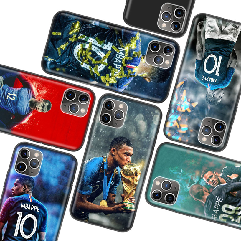 Mbappe Black Case for Apple iPhone 11 Pro XR 7 8 6 6S Plus X XS MAX 5 5S SE Soft TPU Silicone Phone Cover Case
