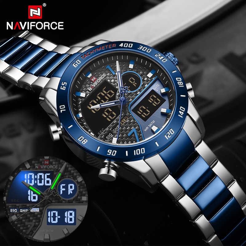 Naviforce marca de luxo relógio masculino militar led digital esporte relógio de pulso dos homens cinta aço à prova dwaterproof água relogio masculino 2019