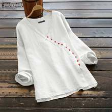 ZANZEA Women Casual Shirts Long Sleeve Tunic Tops Blouses Buttons Down Bluses Cotton Blouse Female Spring Shirt Plus Size(China)
