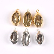 Bracelet Charms-Shell Pendant Home-Decoration Golden/silver-Plated for DIY Handmade 5pcs