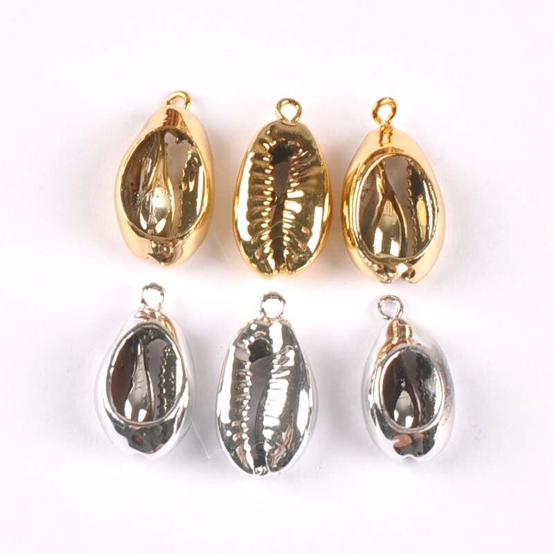 Dijes de concha de 16-20mm chapados en oro/plata para DIY, colgante hecho a mano, pulsera, conchas marinas, decoración del hogar, 5 uds. TRS0347