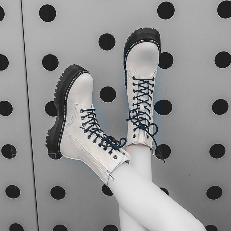 Women Shoes Boots Platform High-Heel Zipper Military-Botas White Fashion Lace-Up Girls title=