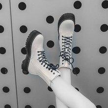 Fashion Zipper Flat Shoes Woman High Heel Platform PU Leather Boots Lace Up Wome