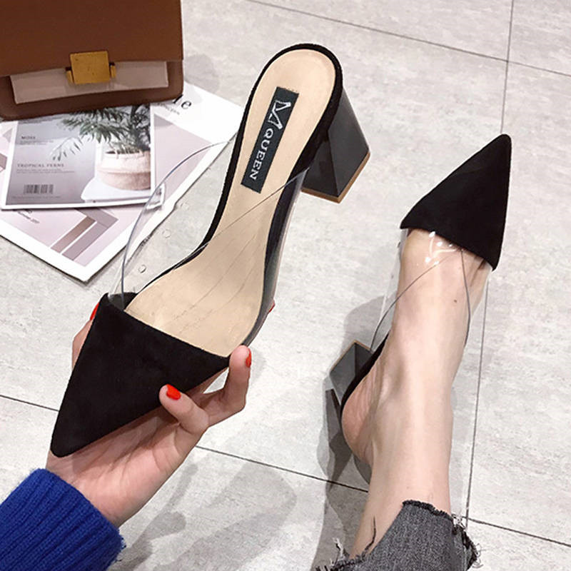 Suede Pumps Summer Shoes Women Fashion Pointed High Heels New Muller Square Heel Slippers Women Slip-On Shallow Ladies Shoes
