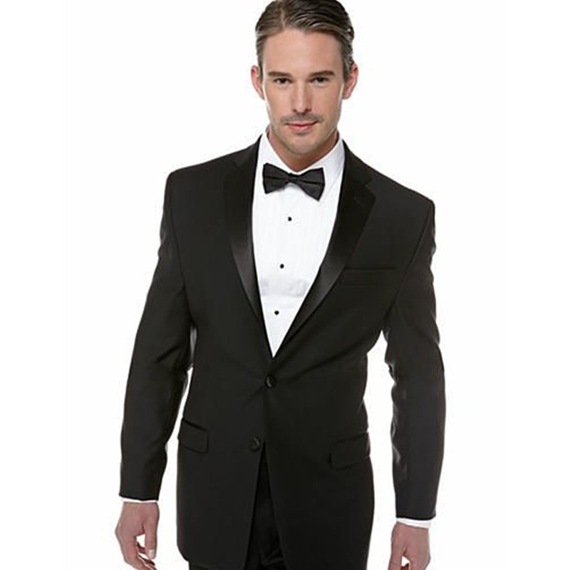 Custom Made classic black men suits tuxedos for men shawl Lapel men Wedding suits grooms suits two pieces Suit (Jacket+Pants)