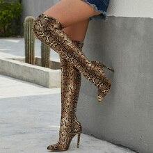 נשים מעל הברך זמש מגפי נחש הדפסת 11.5cm גבוהה עקבים בתוספת גודל חשפנית ארוך Pleaser פגיון חורף 2019 ירך נעליים