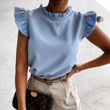 Fashion Ruffles Sleeve Tops O-neck Women T Shirt 2021 Summer Casual White Office Tee Shirt Femme Pink T-shirt Top Tshirts