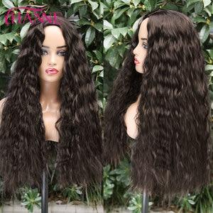 Image 4 - Perucas de cabelo resistentes ao calor naturais da onda profunda de brown escuro perucas onduladas longas da peruca sintética de hanne para preto/branco