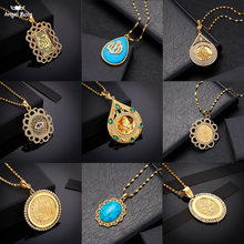 Luxury Crystal Coin Necklace Turks Women/Men Gold Color Turkey Wedding Jewelry Turkish Coin Lucky Allah Pendant Never Faded(China)
