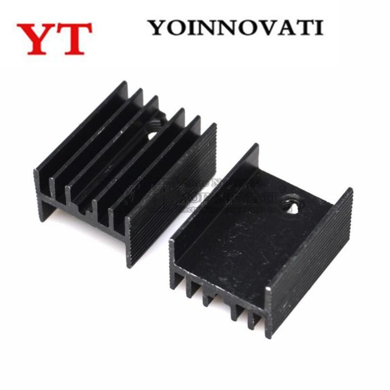 10 шт. алюминиевый TO-220 радиатор для 220 теплоотвод транзистор радиатора TO220 кулер вентилятор охлаждения черный 20*15*10 мм