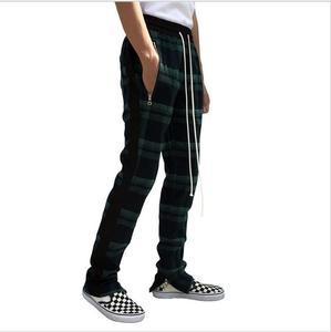 Image 5 - בציר סקוטי משובץ רצים מכנסיים Mens Tartan מסלול מכנסיים ג סטין ביבר שרוך קרסול רצועת Zip תיקון מכנסי טרנינג היפ הופ