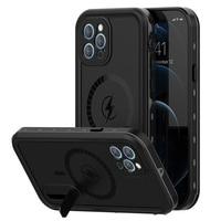 IP68 Real funda impermeable para iPhone 12 Pro Max 12 Mini 12 Pro submarinismo a prueba de agua ocultar soporte de teléfono