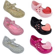 Mini melissa adorável coração menina geléia sapatos sandálias 2021 novos sapatos de bebê fundo macio melissa sandálias para crianças não-deslizamento princesa