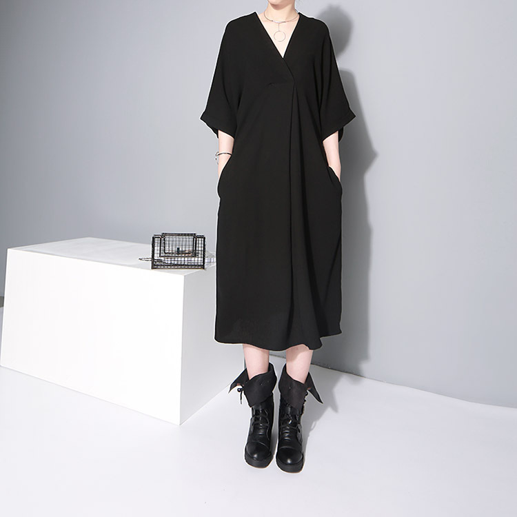New Fashion Style Bandage Loose Temperament Loose Big Size Chiffon Dress Fashion Nova Clothing