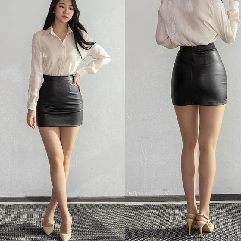 2020 Black Package Skirt Short Autumn High Waist Thin Step Skirt Pu Leather Skinny Hip DQ869