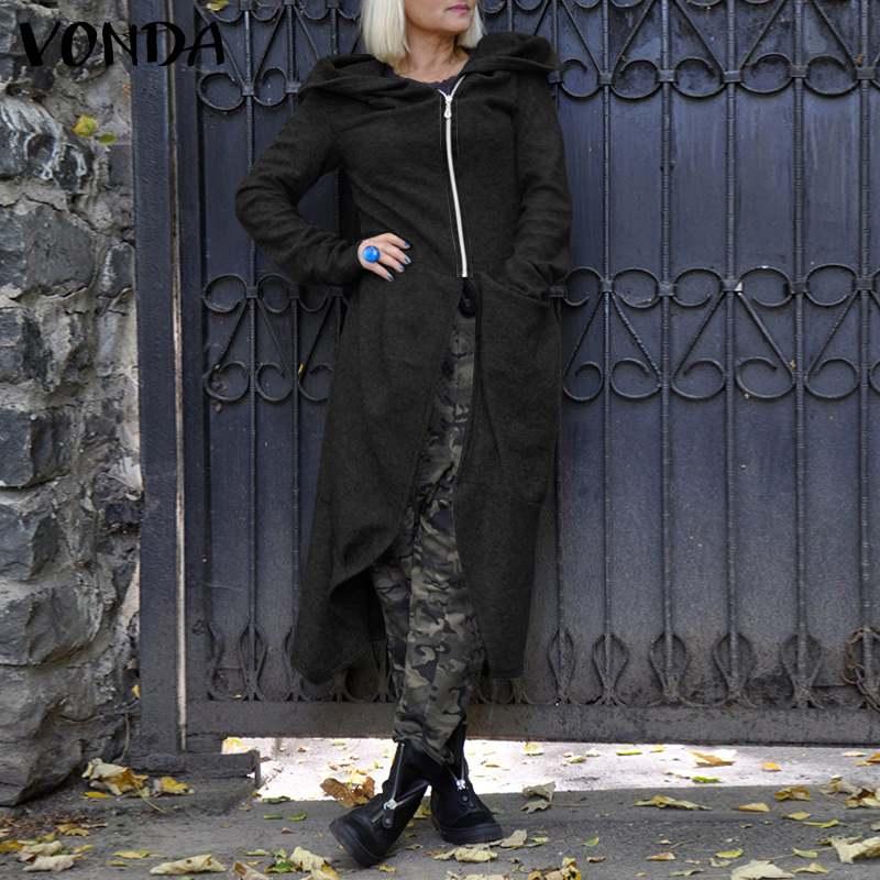 Женские повседневные теплые пальто vonda 2021 Пальто с капюшоном