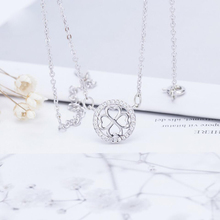 KOFSAC Hot Female Cubic Zirconia Lucky Clover Pendant Necklace Jewelry Girl Fashion 925 Sterling Silver Necklace For Women Bijou цена