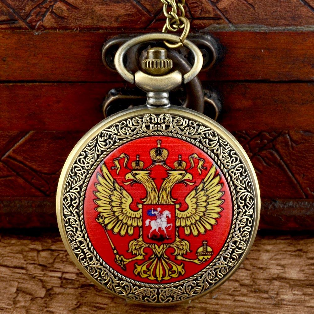Classic Russian National Emblem Quartz Pocket Watch Vintage Men Women Pendant Necklace Watch Gift