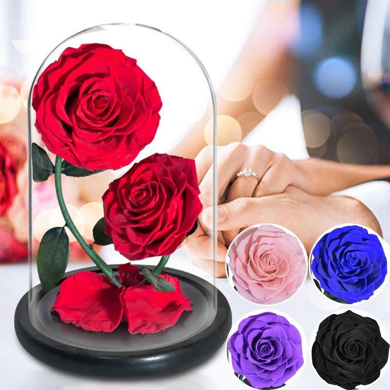 Двухцветная вечная роза в купольном стекле Красавица и чудовище, усиленная Роза, искусственный цветок для нее, подарок на день Святого Вале...