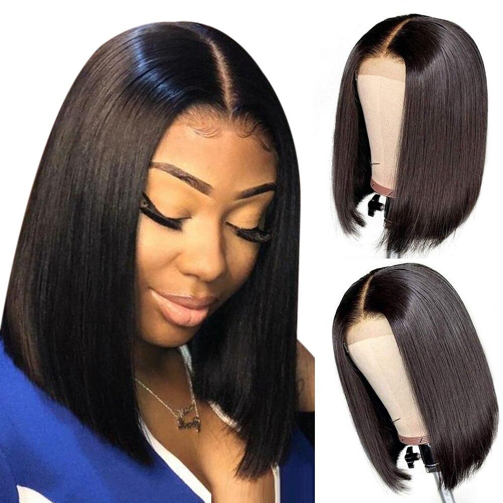 Bob Lace Front Wigs Peruvian Straight Human Hair Lace Front Human Hair Wigs For Black Women Hairline 4x4 Lace Closure Wigs