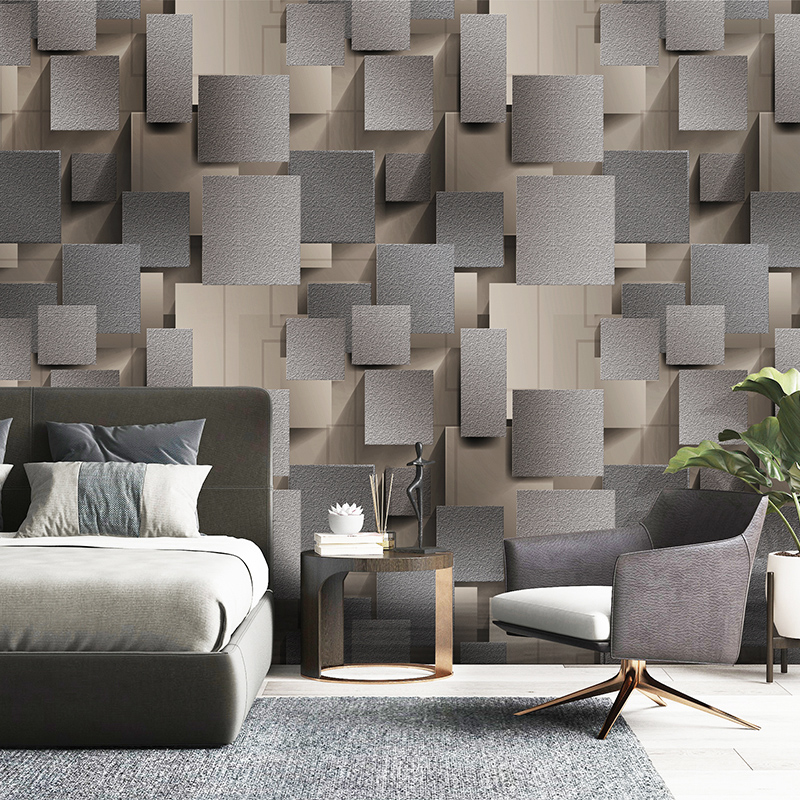 Modern 3D Lattice Non-woven Suede Wallpaper For Walls Roll Papel De Parede 3D Living Room Bedroom TV Background Wall Paper Decor