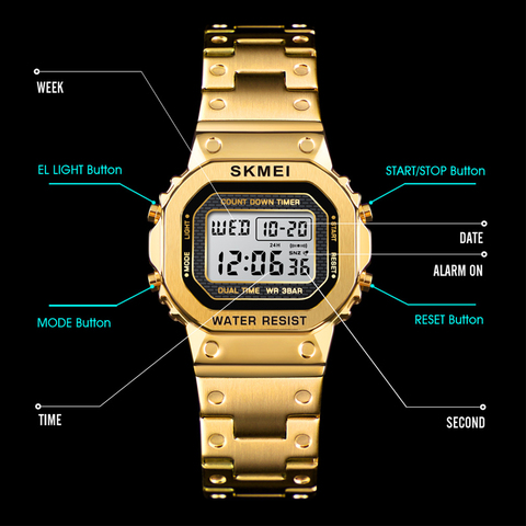 SKMEI Women Digital Watches Fashion Sport Wristwatch Stopwatch Chronograph Waterproof Bracelet Ladies Dress Watch Alarm Clock Islamabad