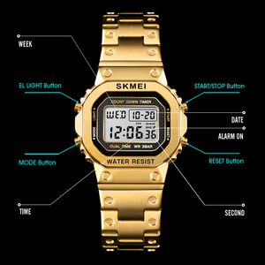 Image 4 - SKMEI kadınlar dijital saatler moda spor kol saati kronometre Chronograph su geçirmez bilezik bayanlar elbise İzle çalar saat