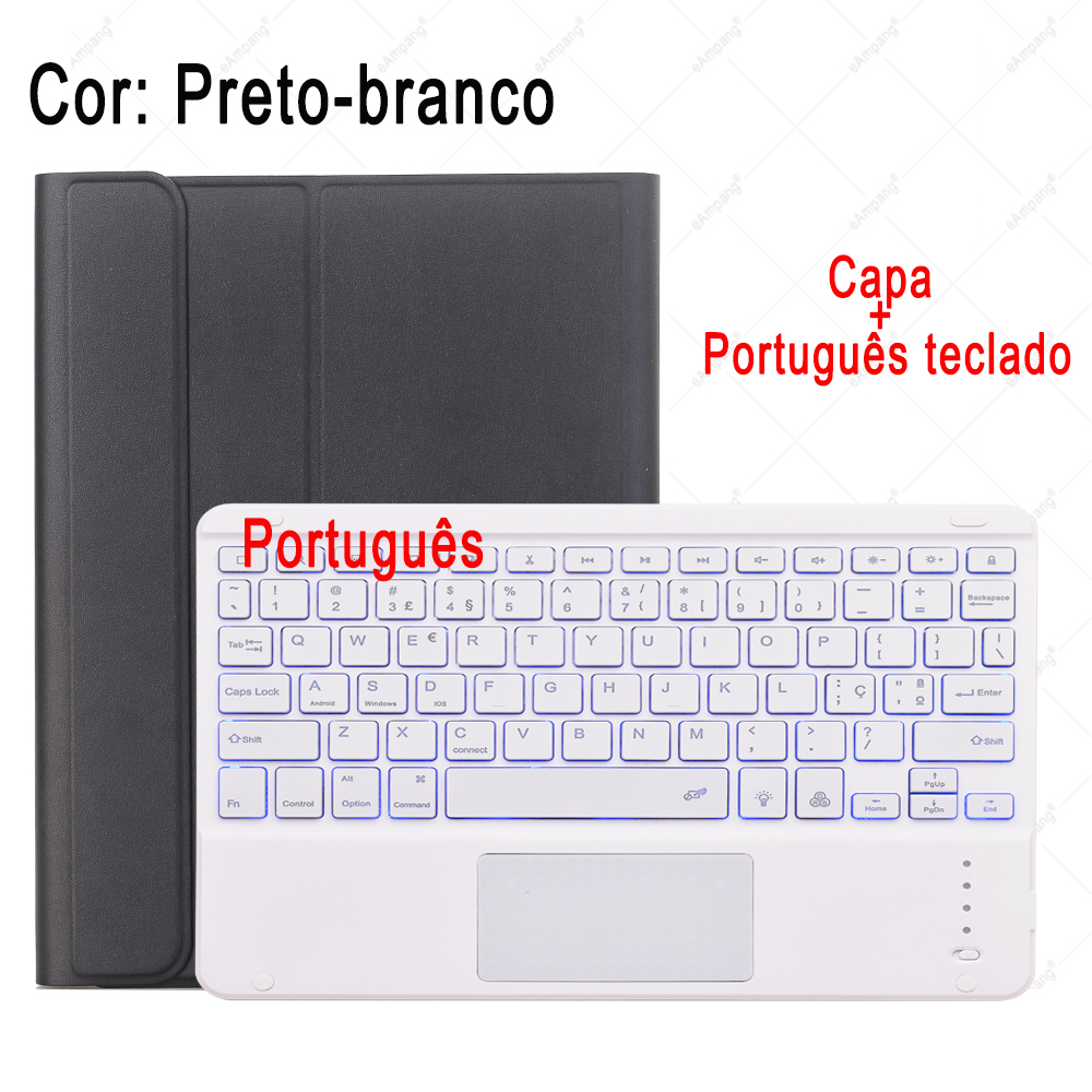 Portuguese Keyboard Beige For iPad 7th 8th Generation 10 2 2019 A2200 A2198 A2232 Case with Backlit Touchpad Keyboard