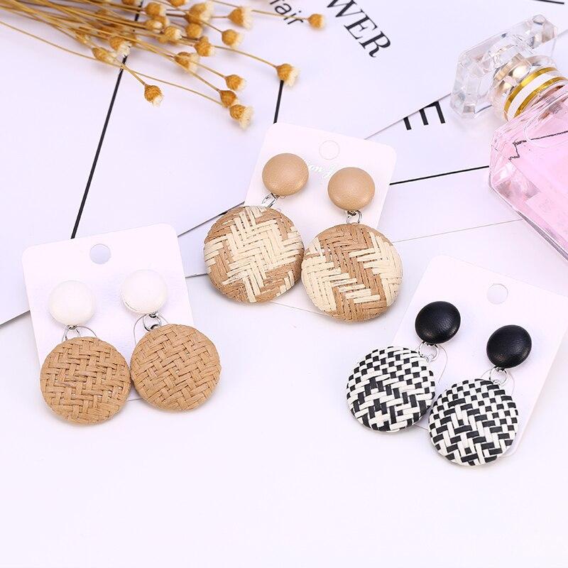 HOCOLE Fashion Weave Wooden Drop Earrings For Women Geometric Big Hollow Out Rattan Knit Hanging Dangle Earring Female Jewelry