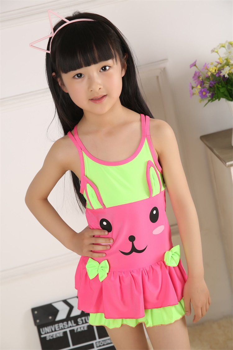 2018 New Style KID'S Swimwear GIRL'S Children Dress-Cute KT Students Sweet Hot Springs Swimming Suit