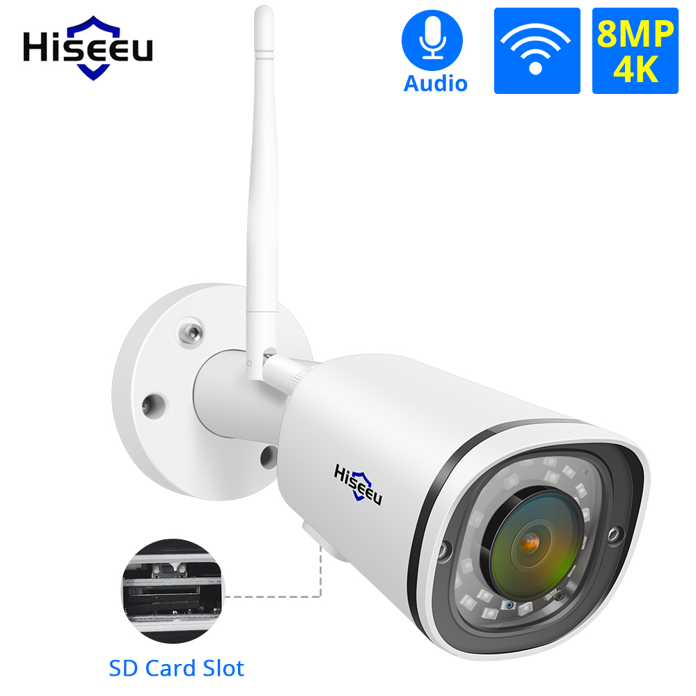 Hiseeu Wireless 4K IP Camera WIFI Outdoor ONVIF Waterproof 8MP 5MP 4MP 2MP SD Card App Alarm CCTV Security Camera Remote View