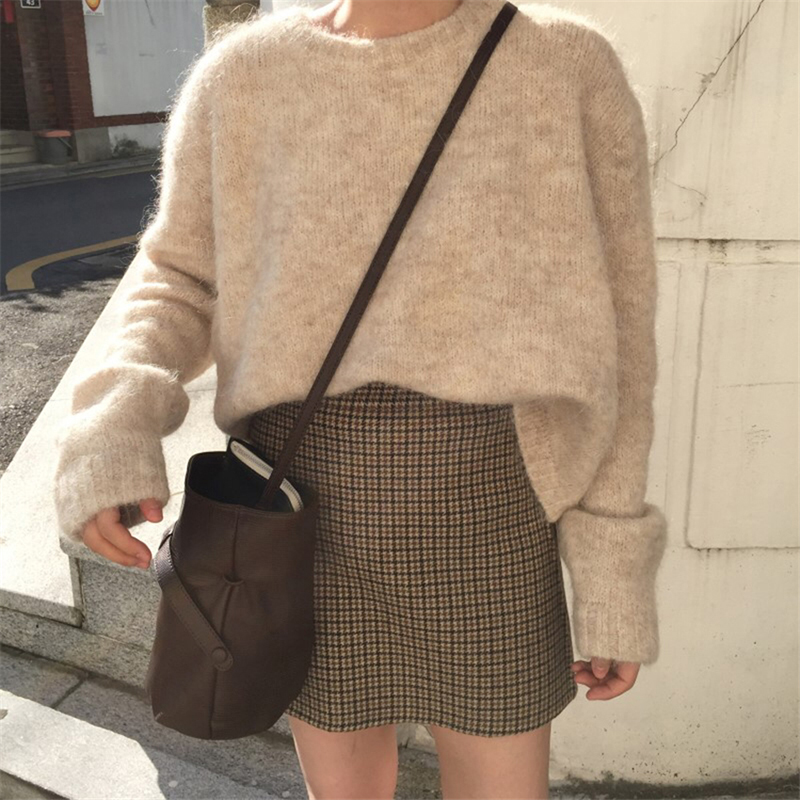 Casual Sweater Women Autumn Winter 2019 Solid Long Sleeve Warm Pullover Korean Knitwear Loose O Neck Fashion Tops Sueter Mujer