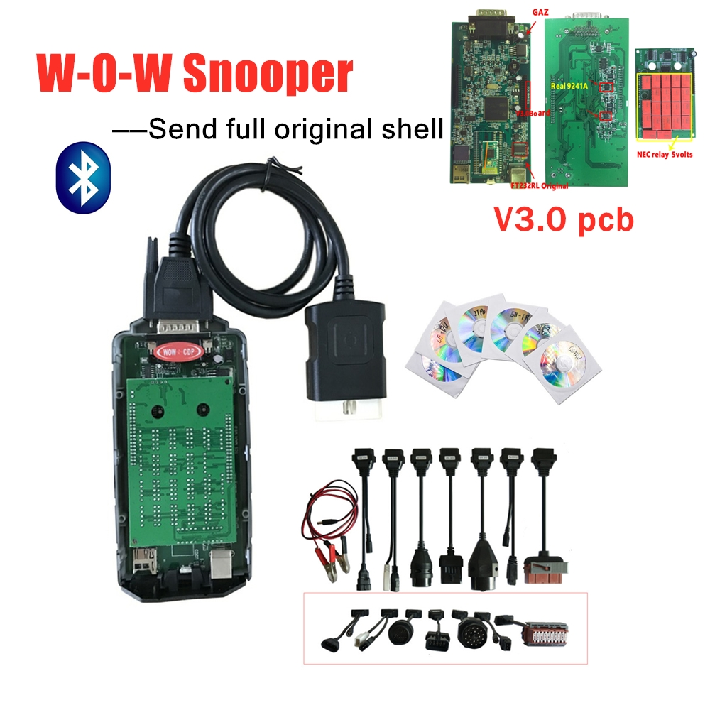 2019 New W-O-W C-D-P SNOOPER V3.0 Green Board V5.008 R2 /R5.0012 With Bluetooth Obd Obd2 W-o-w Diagnostic Tool +8pcs Car Cables