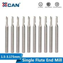 XCAN 10 sztuk 2x8mm 3.175 shank pojedyncze flet spiralne frezy do cięcia drewna/tworzyw sztucznych frezowanie CNC frez 1 flet frezy